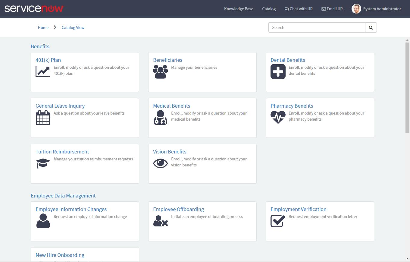 HR Service Portal - Catalog
