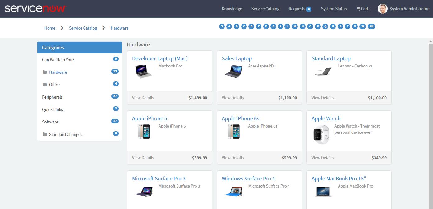 Service Portal: ABC Filter — ServiceNow Elite
