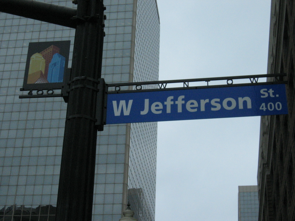 Downtown Louisville. You know you're in a different part of town where the streets are branded.