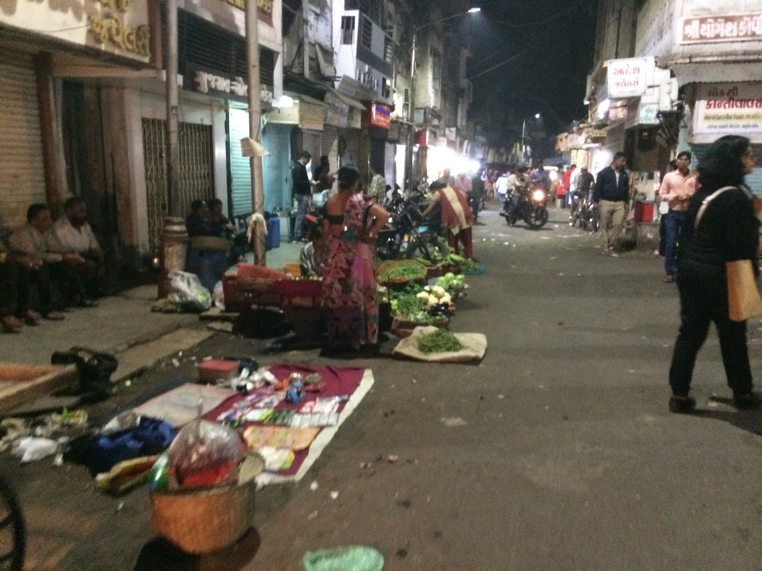 Manek Chowk in the Old City of Ahmedabad, a well-used and vibrant part of the city – here around midnight.