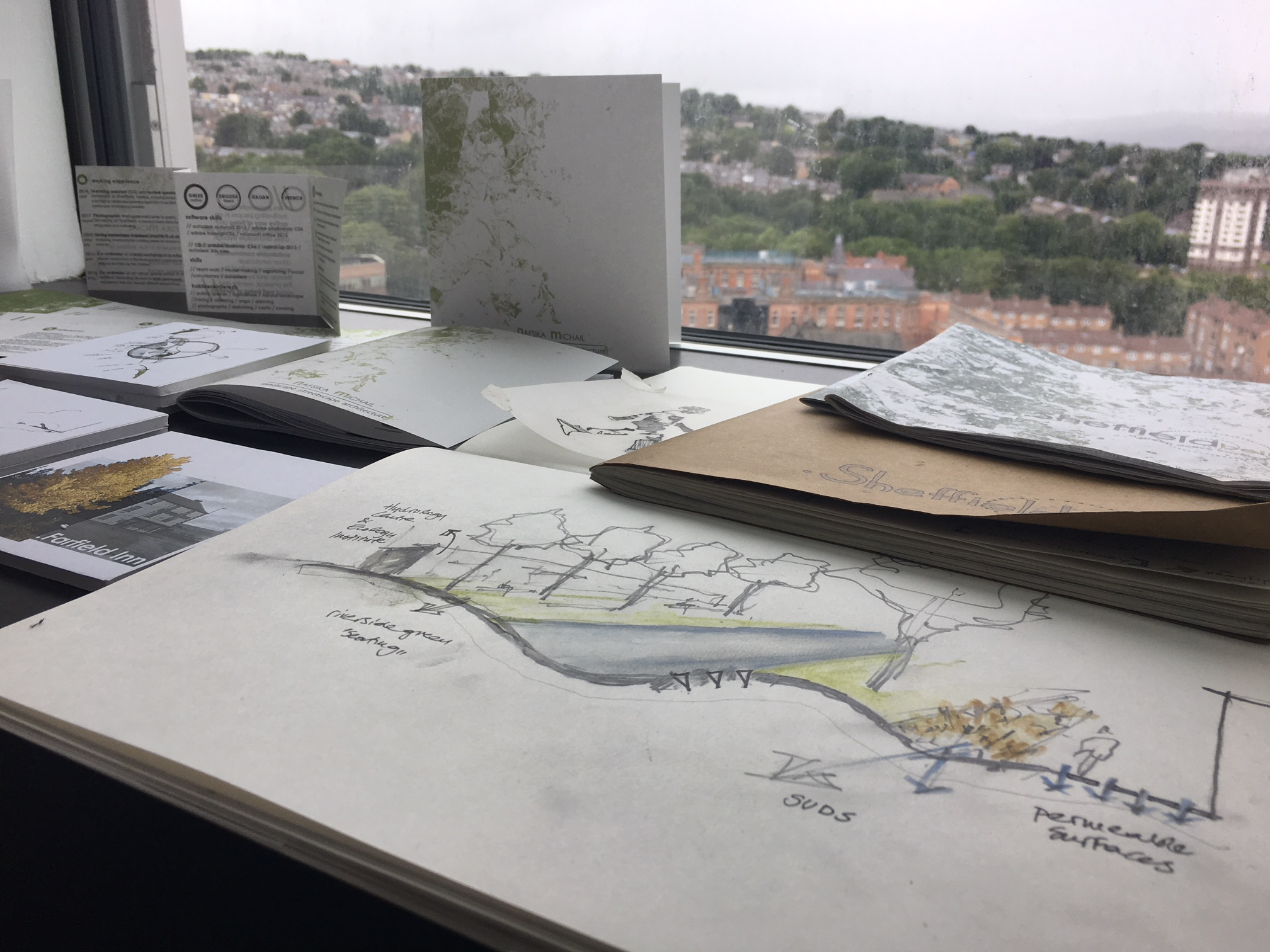 Some of Nafsika's sketches of the Upper Don Valley in Sheffield