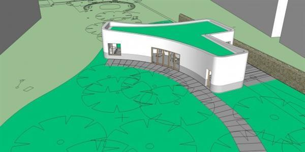 The layout of the building had to fit with protected trees on-site. (Image:  www.3ders.org )