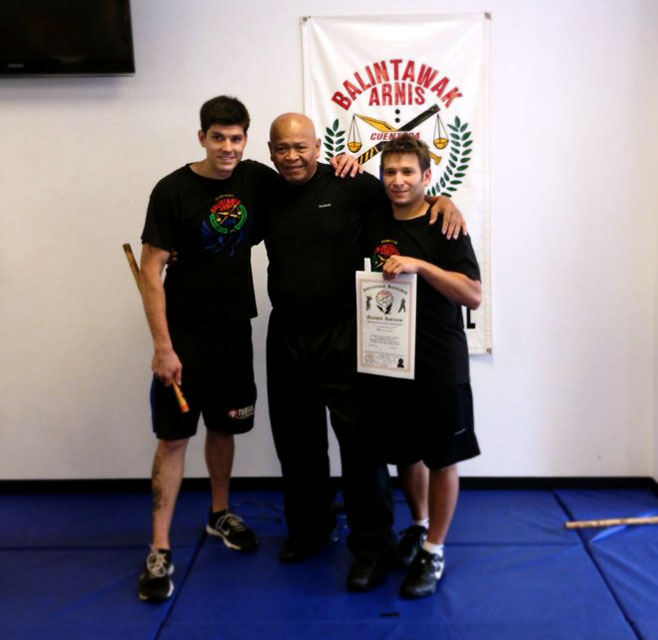 Jesse Speedy (L), GM Taboada (C), and Guro Greenspan (R) at world camp 2013 after Guro Greenspan completed his FQI Test.