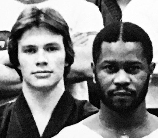 A younger Patrick Schmitt with Sensei Tom Myers