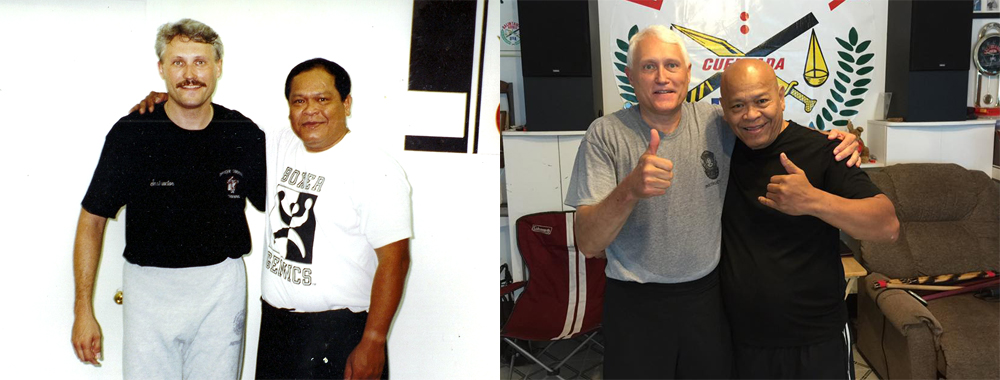 Guro Floyd Yoder with Grand Master Bobby Taboada, circa 1994 (L) and 2016 (R)