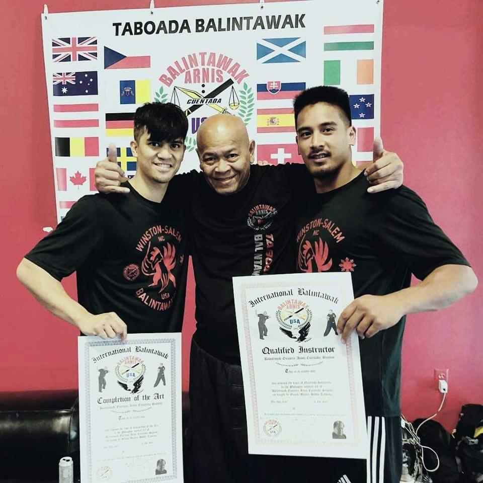 Armand Rabanal (L), GM Bobby Taboada (C), and Guro Bryan Sloyer (R) at the 2018 World Camp