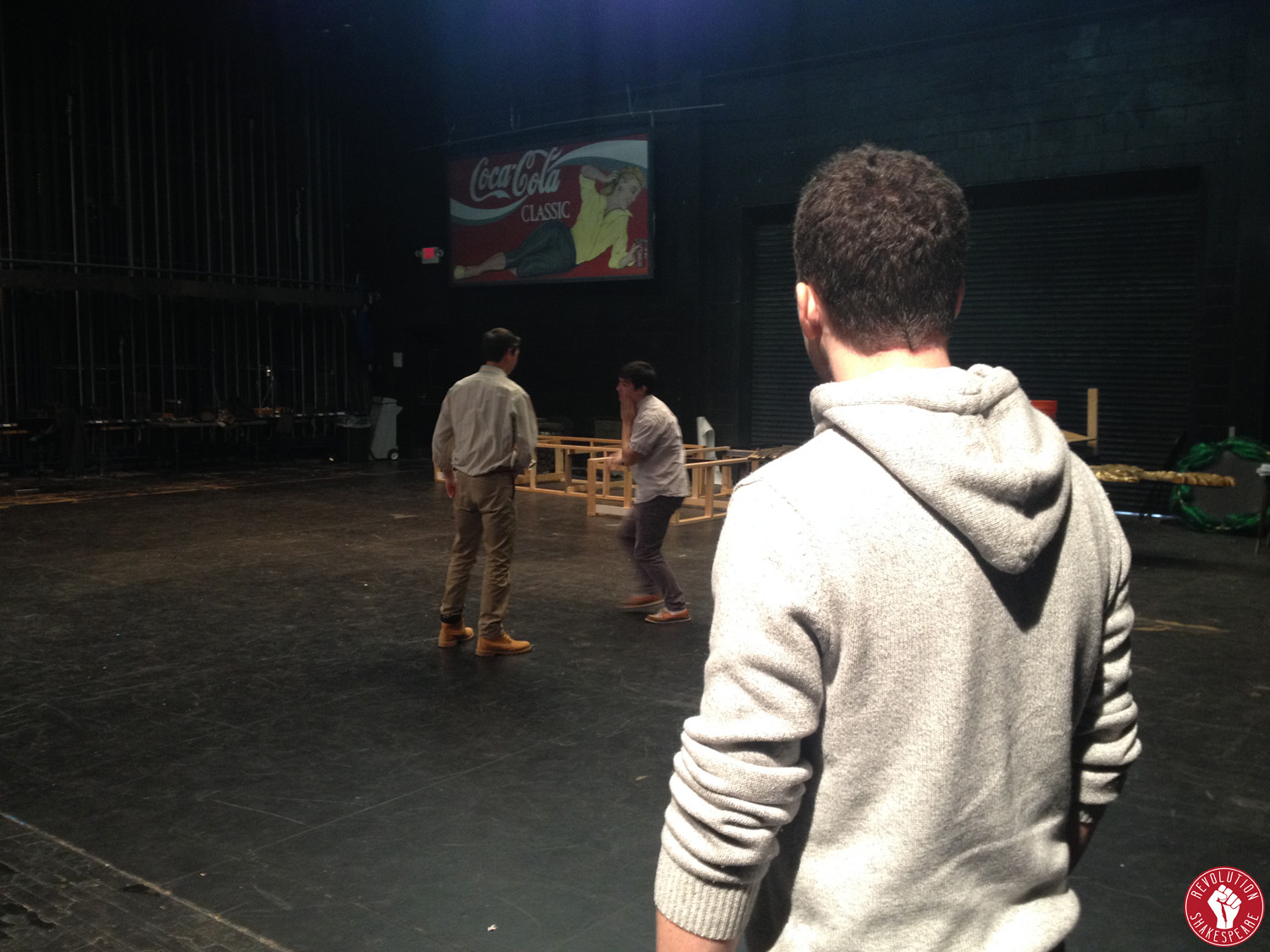 Resident Fight Choreographer Sean Bradley walks students through stage combat techniques at The Haverford School, during a Revolution Shakespeare workshop.