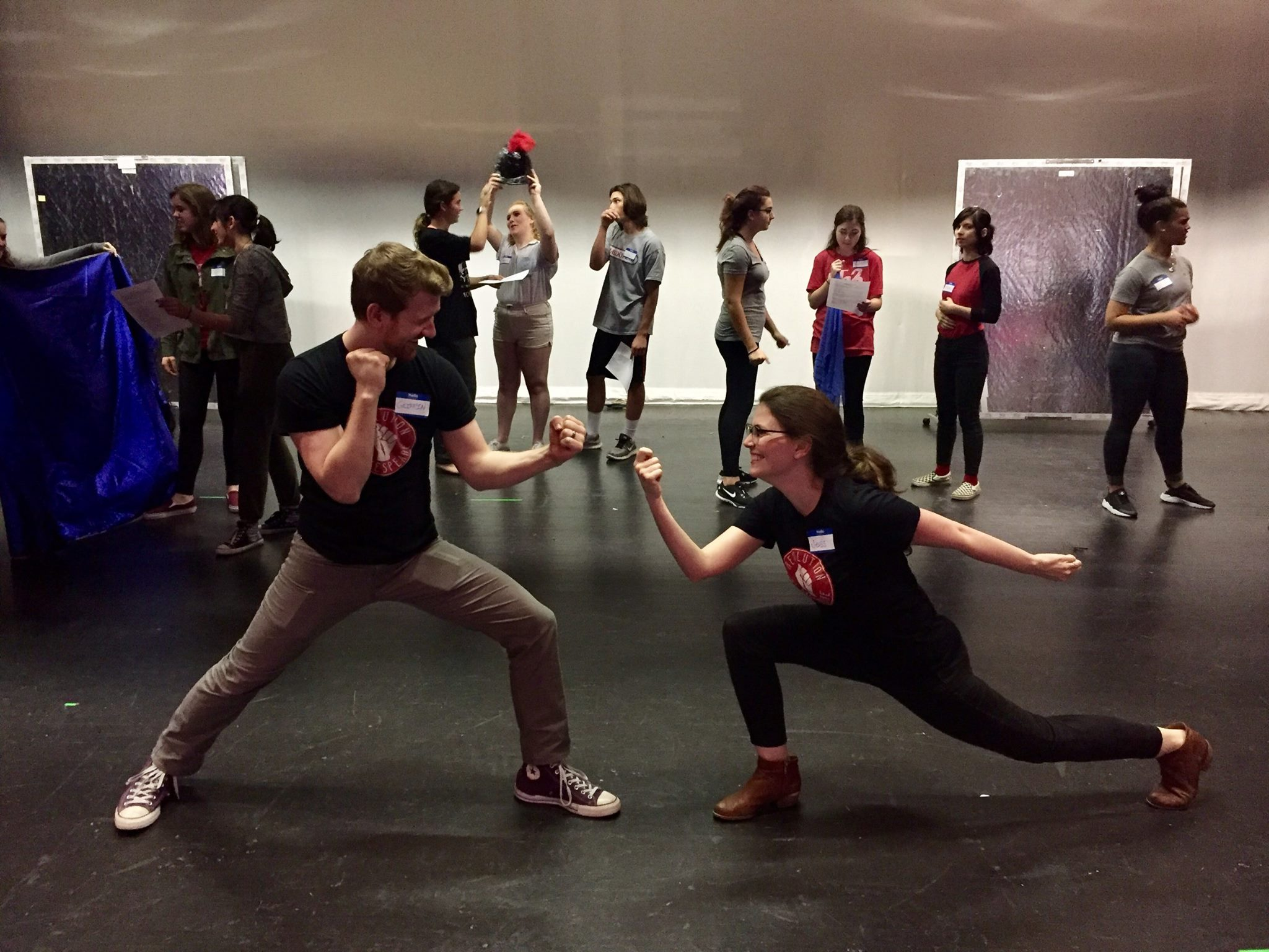 Artistic Director Griffin Stanton-Ameisen and Education Director Jessica DalCanton warm up with students at Haddonfield Memorial High for a Snowday Shakespeare workshop.