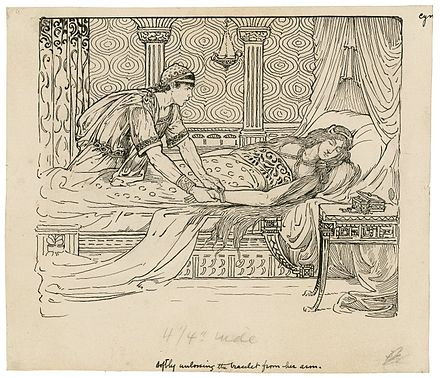 Iachomo stealing Imogen's bracelet, Act II Scene ii. Illustration by Louis Rhead, designed for an edition of Lamb's Tales, copyrighted 1918.