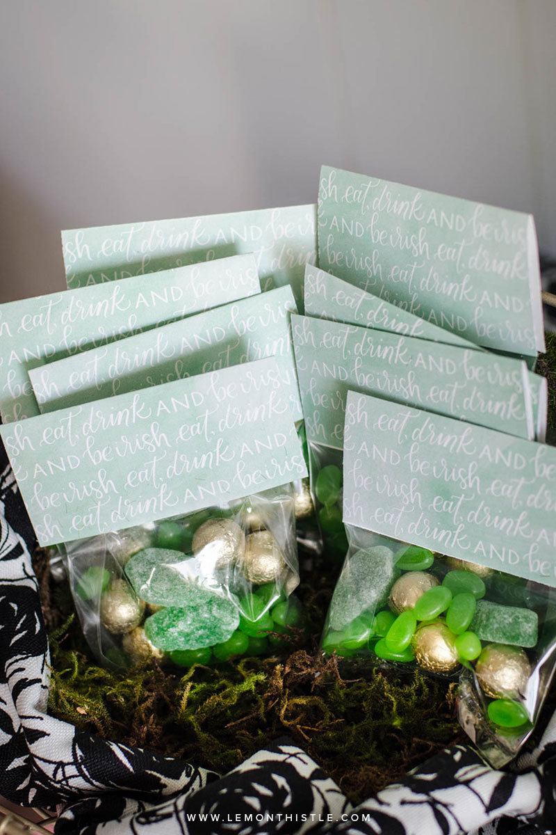 Free Printable Candy Bag Toppers for A Classy St. Patrick's Day Party!     Lettering by www.pommellane.com     Party Hosted by www.lemonthistle.com #stpatricksday #stpattysday