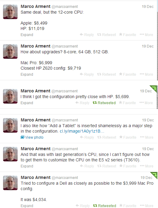 "@marcoarment with some interesting numbers on ""equivalent"" HP and Dell machines."