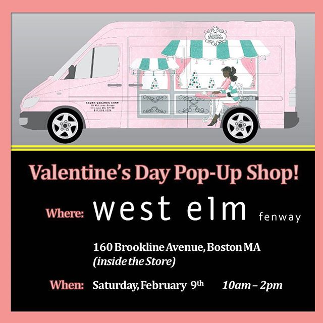 💕This Saturday 2/9 from 10a-2p we'll be featured at the @westelmfenway Valentine's Day Pop-Up Market!💘Come into the store to pick up your #ValentinesDay treats! . . . . #macarons #frenchmacaron #westelm #bostonfoodtrucks #wedding #bostonweddings #bridalshower #bridesmaids #catering #newenglandweddings #babyshower #momtobe #bostonevents #eventplanning #corporateevents #eventplanner