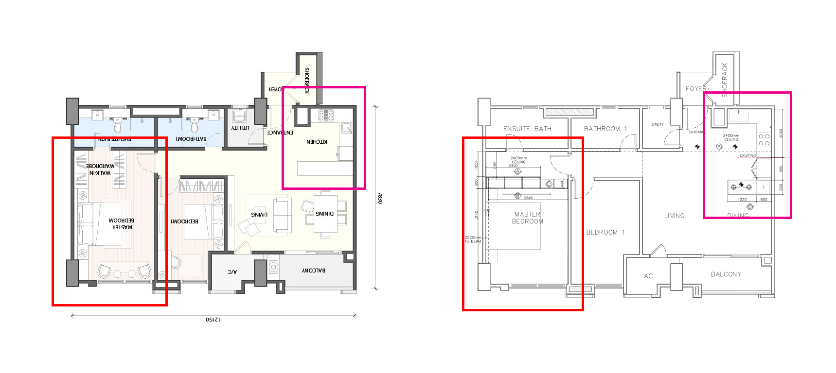 Left:  Proposed Layout for the unit Type 3A1.  Right:  My proposed layout.  As you can see the kitchen layout are basically the same, with the exception of the cooktop and basin orientation, as well as the length of the island. The bedroom wardrobe layout are vastly different; the developer proposed 2 seperate wardrobes at the entry to the ensuite and my proposal is a single long wardrobe next to the bedroom door - the intent is that the circulation from the bedroom door to the ensuite is not interrupted and creating a partition for the ensuite and bedroom with the wardrobe space.