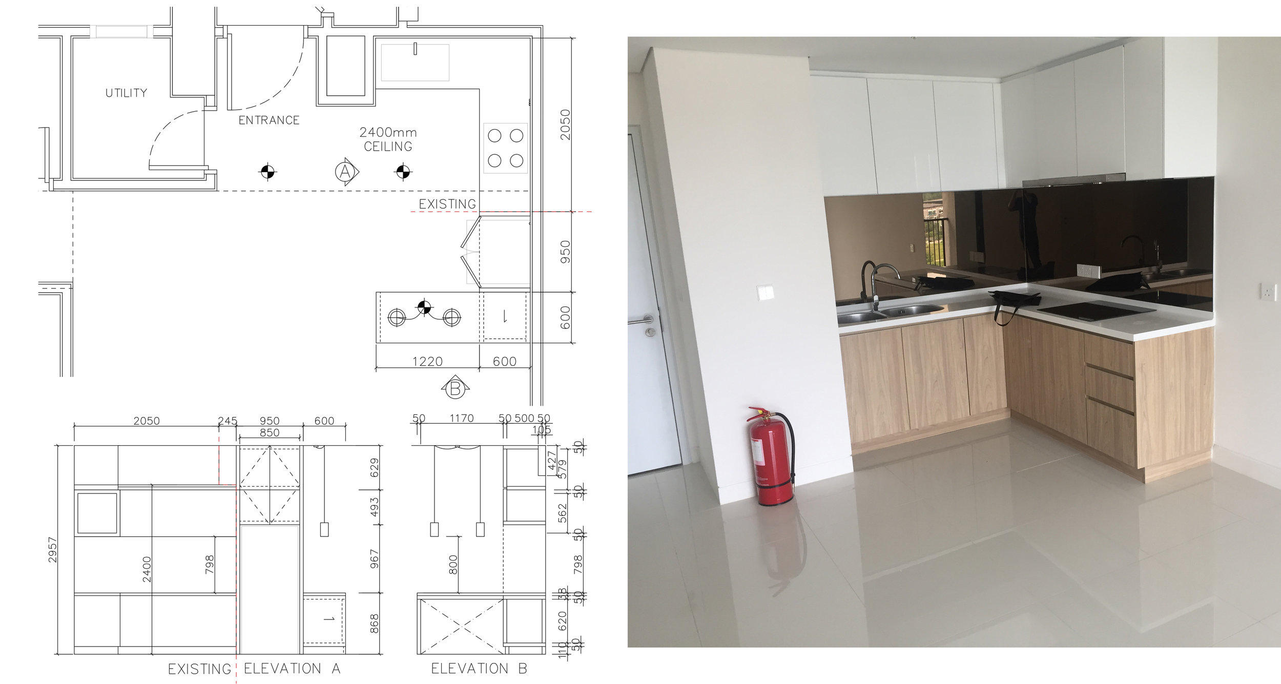 Left:  Propose Kitchen Extension.  Right:  Existing Kitchen during Handover