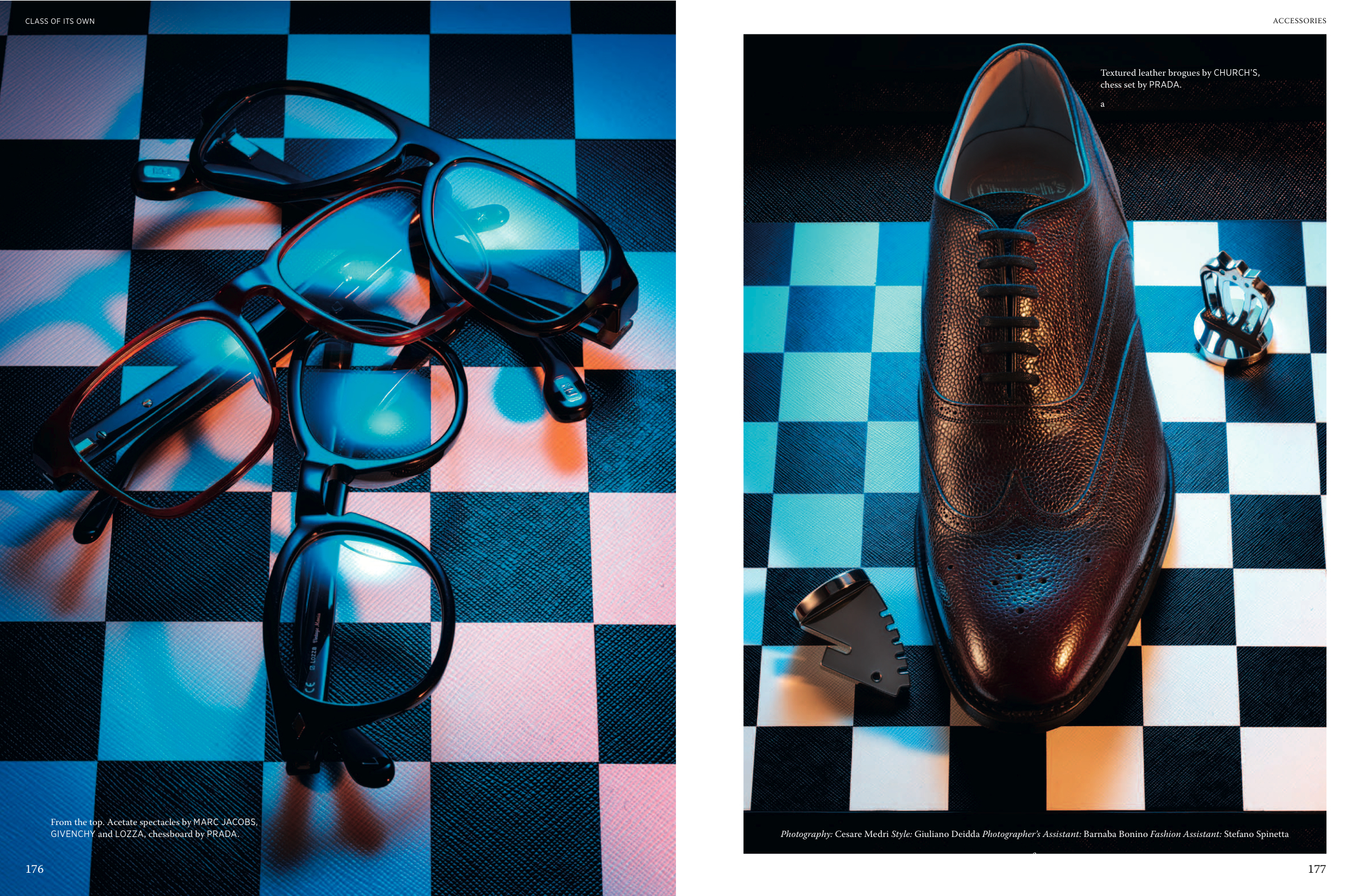 Spectacles by MARC JACOBS, GIVENCHY and LOZZA, brogues by CHURCH'S, chessboard by PRADA.