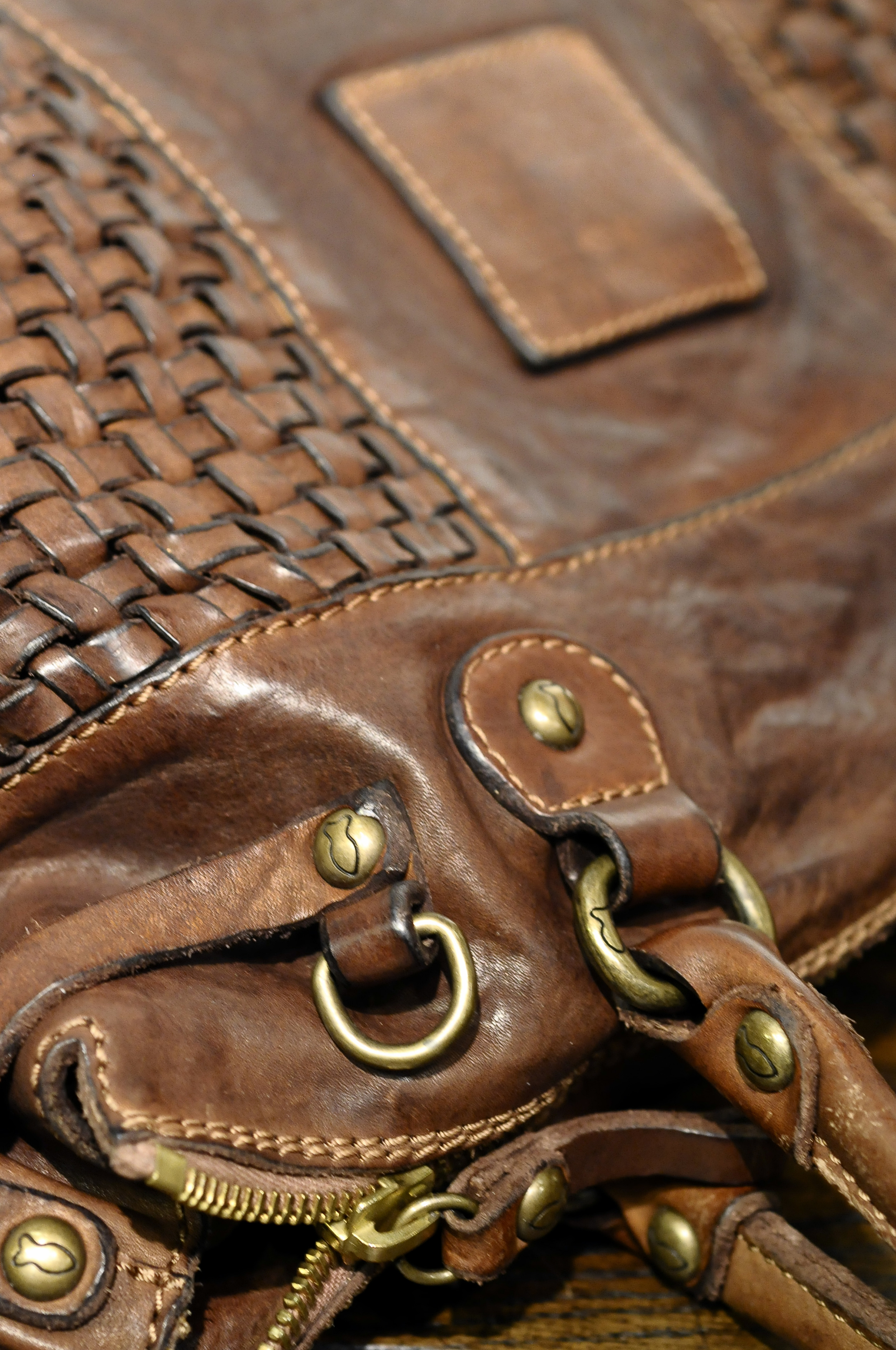 Woven vintage leather by CAMPOMAGGI