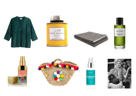 Top: Fuzzy Angora Cardigans ( here  and  here ),  Bellocq Hindu Holiday tea , Cozy wool blankets ( here ),  Dior Eau Noire . Bottom:  Forest Essentials Soundarya Serum , Coffe Siciliane ( here ),  One Love Organics Chamomile Body Serum ,  Cafe' Society Book.