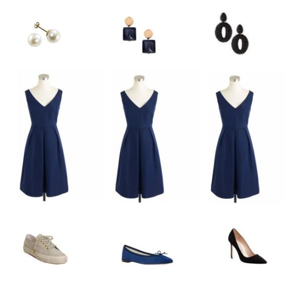 Dress:  J Crew . 1:  Pearl earrings ,  Superga shoes . 2:  Marni earrings ,  Repetto ballerina , 3:  Oscar De La Renta Earrings ,  Manolo Blanhik pumps .