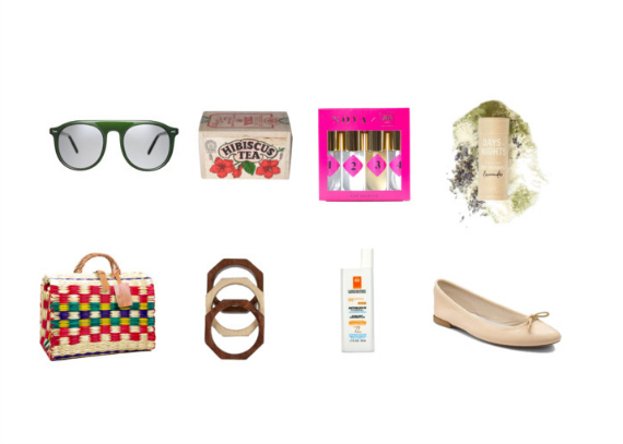 Top:  Autodromo Stelvio Sunglasses in Bottle Green , Hibiscus Iced Tea,  Nova x Opening Ceremony Pop Palette ,  Days and Nights Lavender Dry Shampoo . Bottom:  Toino Abel Straw Bags , Wooden Bangles (similar  here  and  here ),  La Roche Posay Anthelios 50 Sunscreen ,  Repetto Pink Ballet Flats .