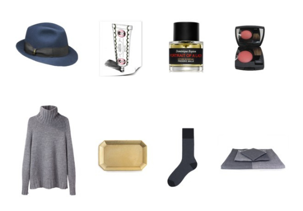 "Top:  Borsalino hats ,  Buly 1803 Pommade Virginale ,  Frederic Malle Portrait of a Lady ,  Chanel Joues Contraste Blush in ""Canaille"" . Bottom: Grey chunky sweaters like  this one ,  brass trays  for organizing jewelry and small accessories, men's socks,  Japanese chambray towels ."
