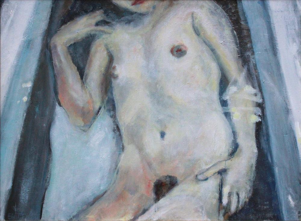 """Marika in bath"" Oil on canvas 100x80cm"