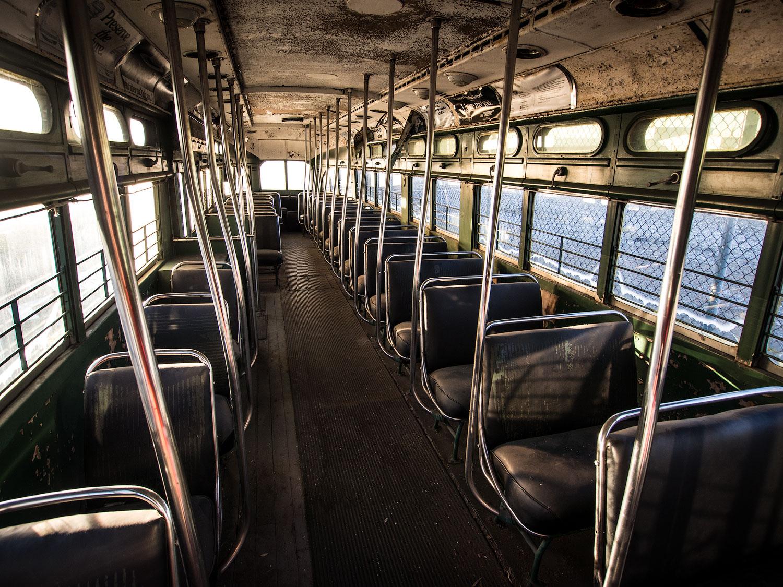 An old Washington D.C. streetcar at the Roanoke Transportation Museum.