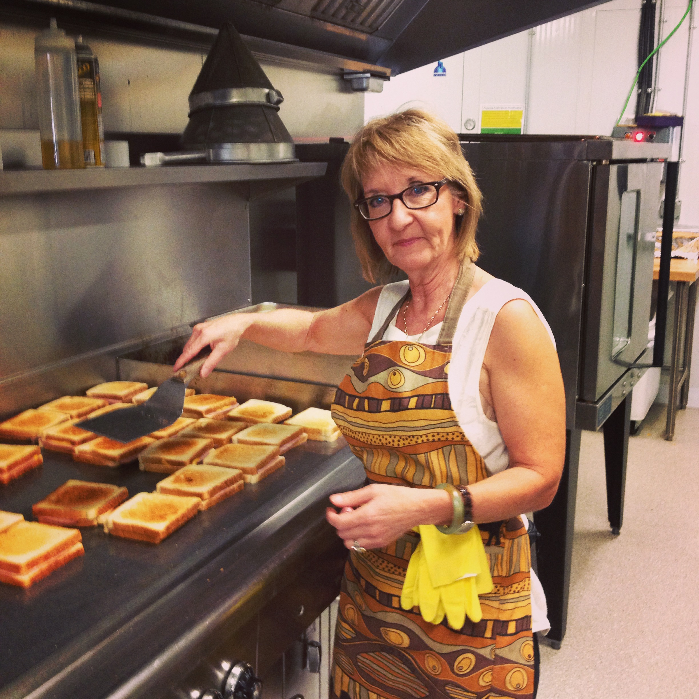 Gloria Wagner jumped right in...bright and early, she was already in the kitchen making lunch.