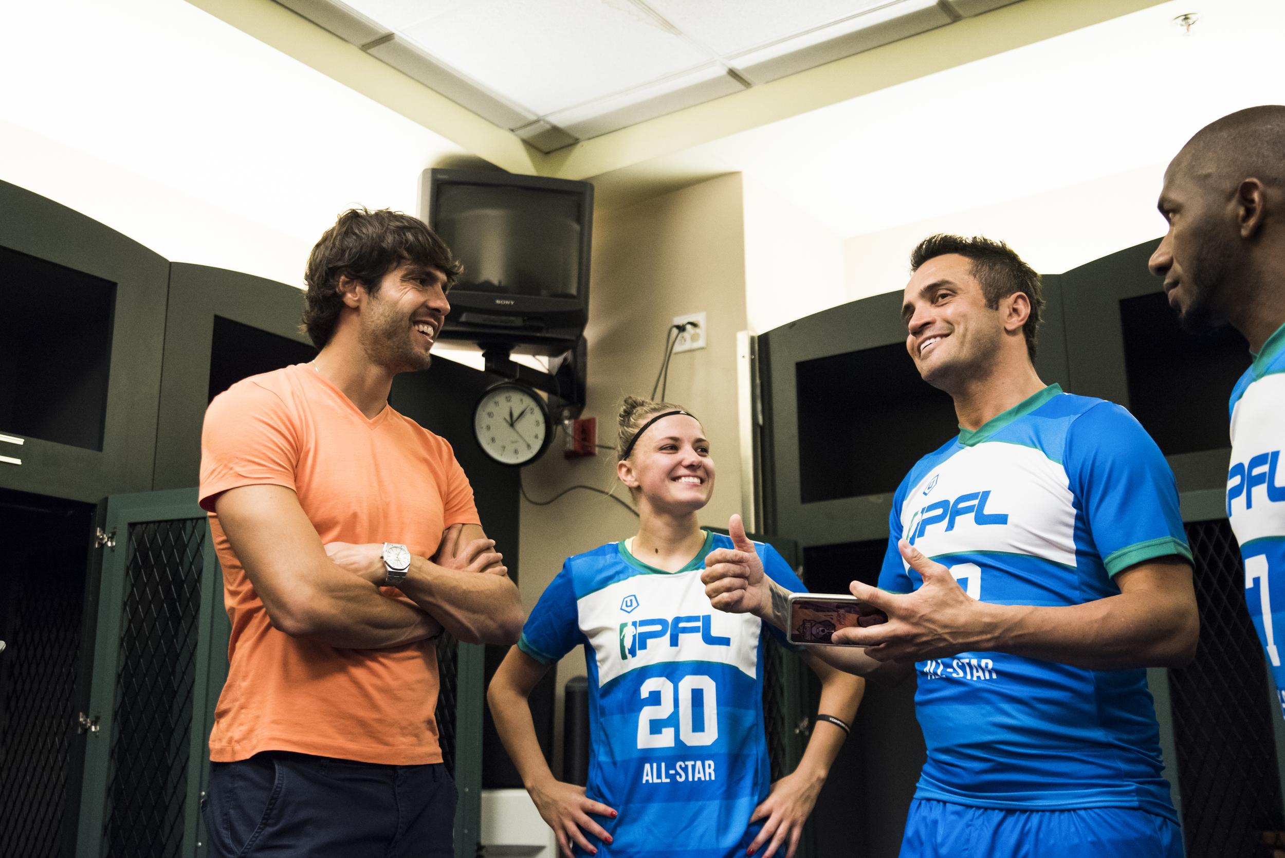 Orlando City SC midfielder and Brazilian soccer icon, Kakà  stopped in to visit his countryman,Falcão.