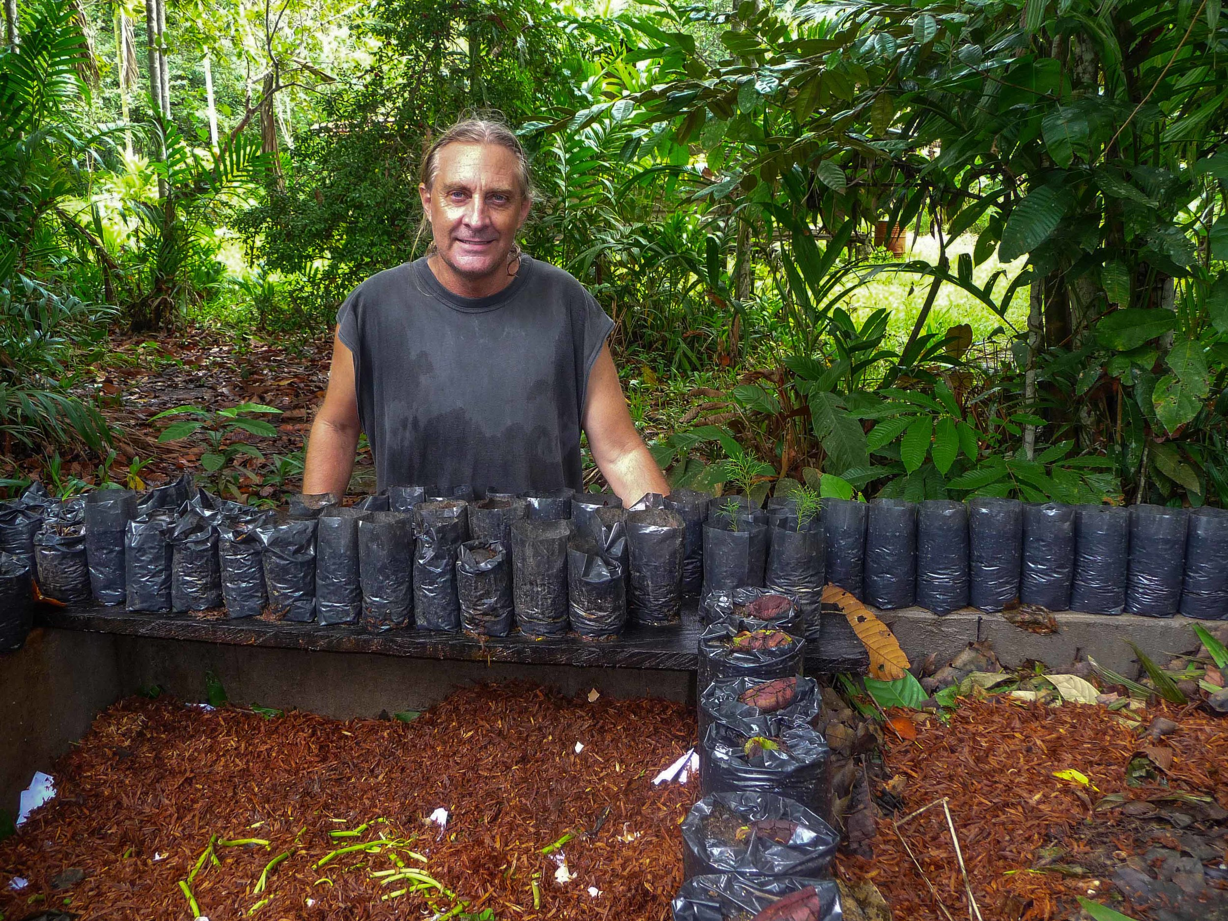 David with one of his native plant nurseries