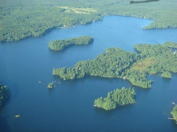 aerial view of Wood Lake islands