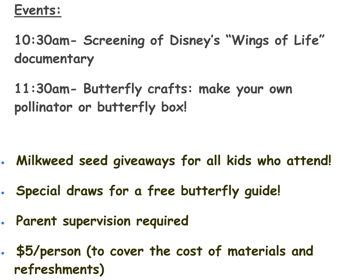 Monarch Butterfly workshop events