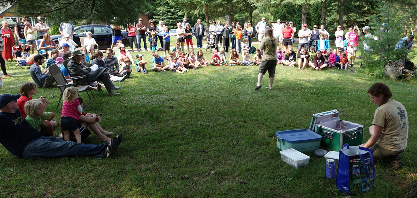 crowd enjoying wildlife presentation
