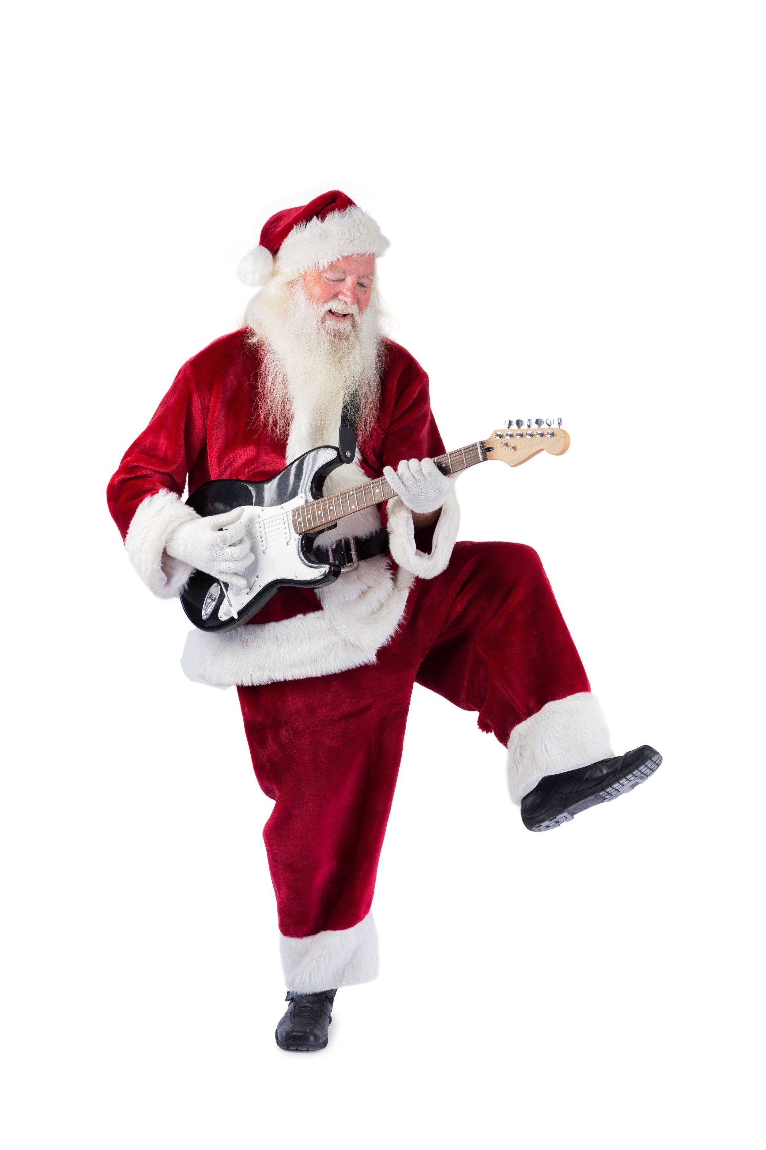 Santa Claus has fun with a guitar