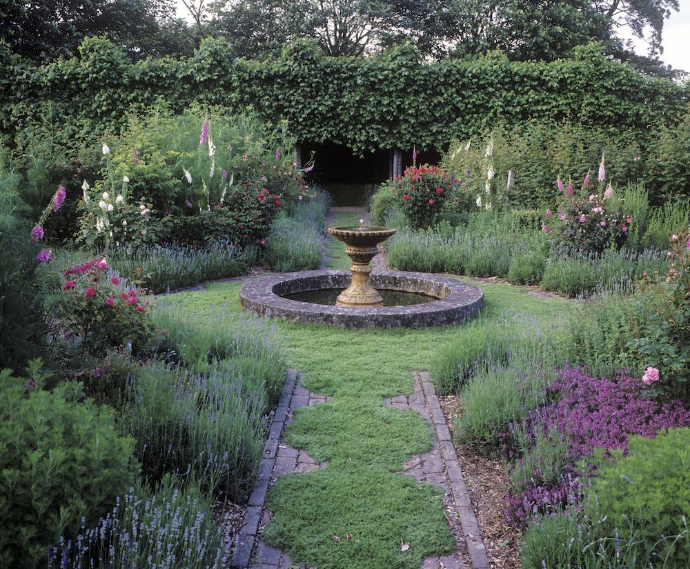 sussex,cullem,tyme path, fountain, lavendar.jpg
