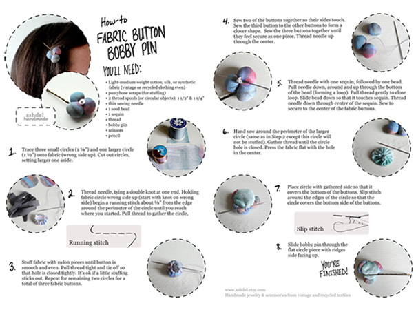 My first DIY how-to 'Fabric Button Bobby Pin' from 2011
