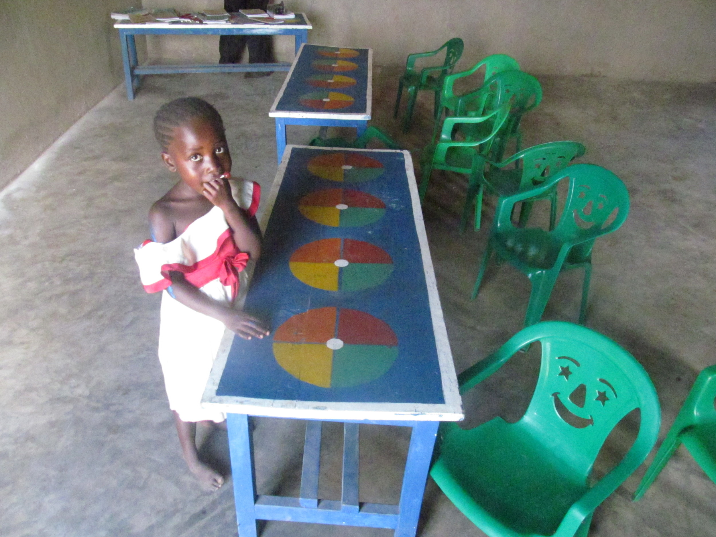 Photo op for this little one in her new classroom, just love the happy face chairs!