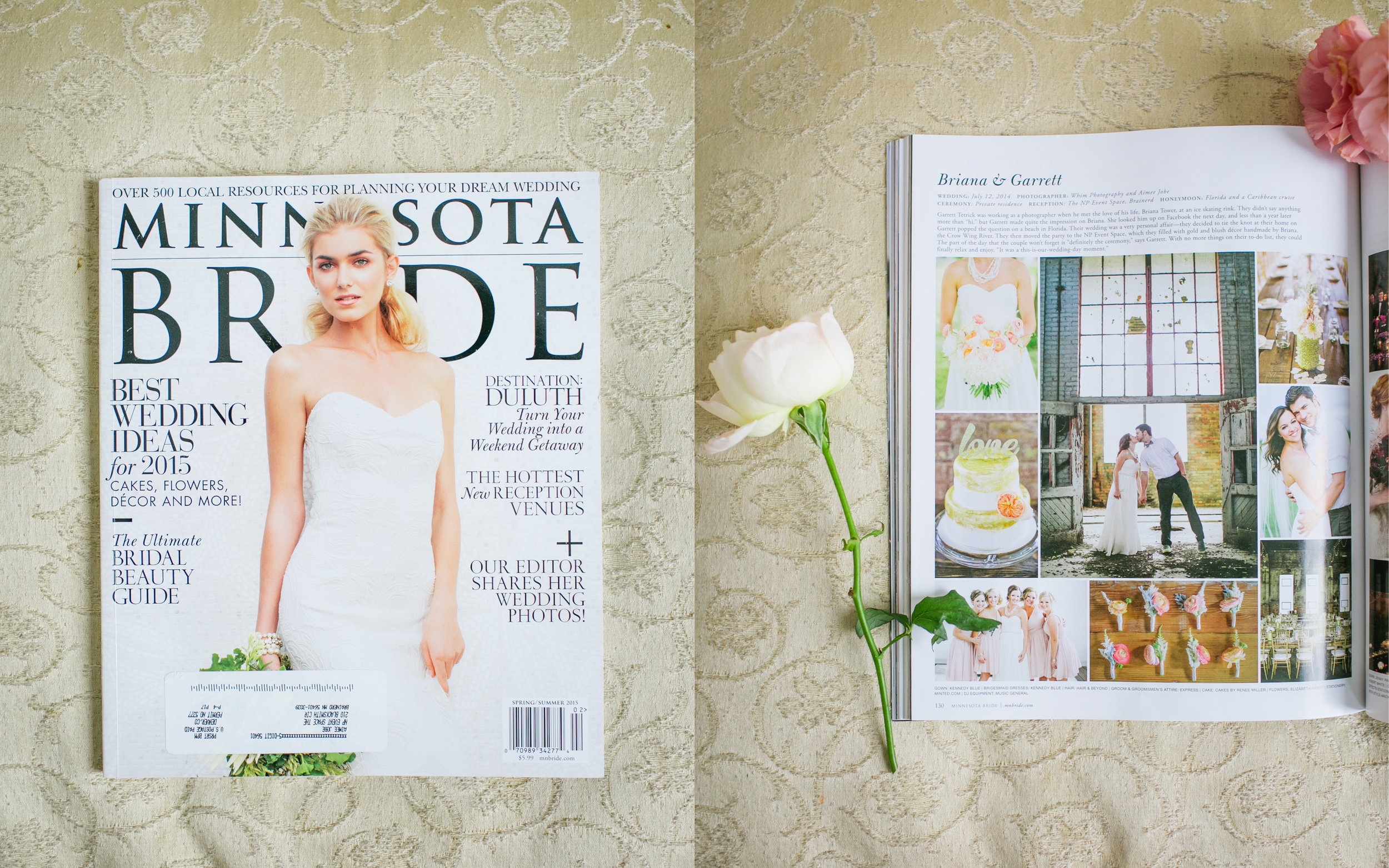 Briana and Garrett's real wedding was published in Minnesota Bride Magazine!!!