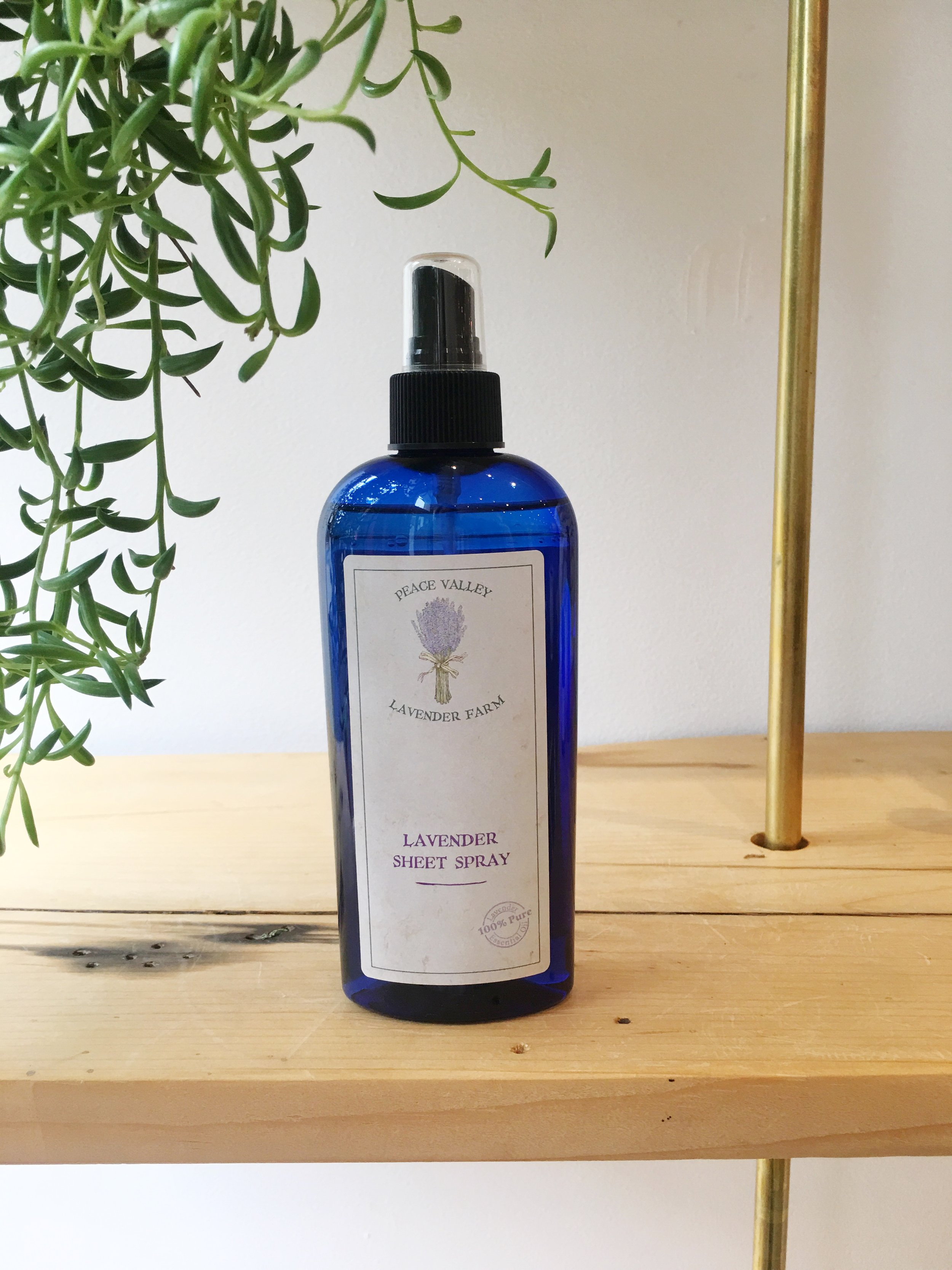 A combination of lavender water and essential oil. Use to freshen and lightly fragrance sheets and pillows before getting into bed.
