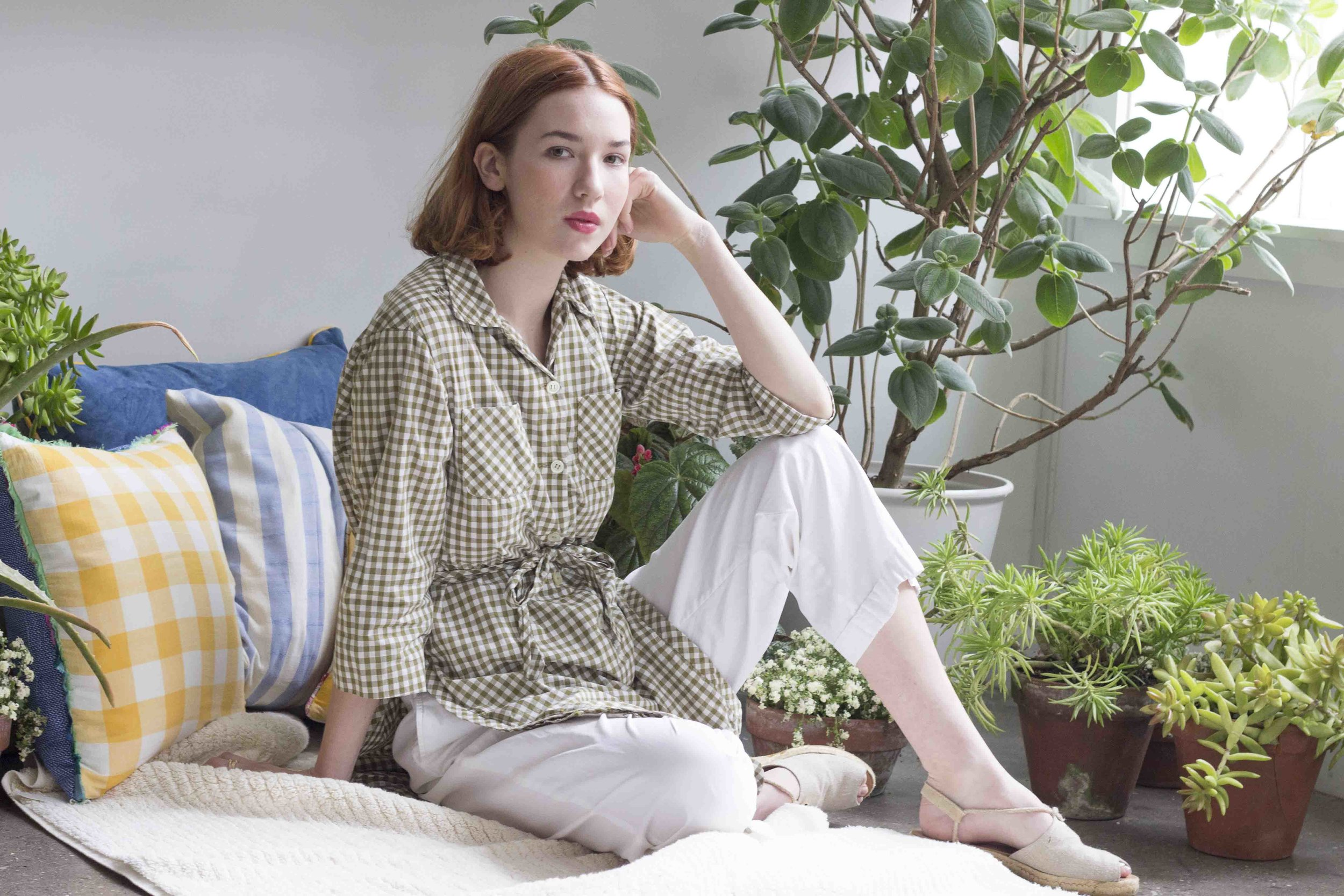 Cuttalossa Pillows and Plush Cotton throw, Gingham tunic by Wayward Collection