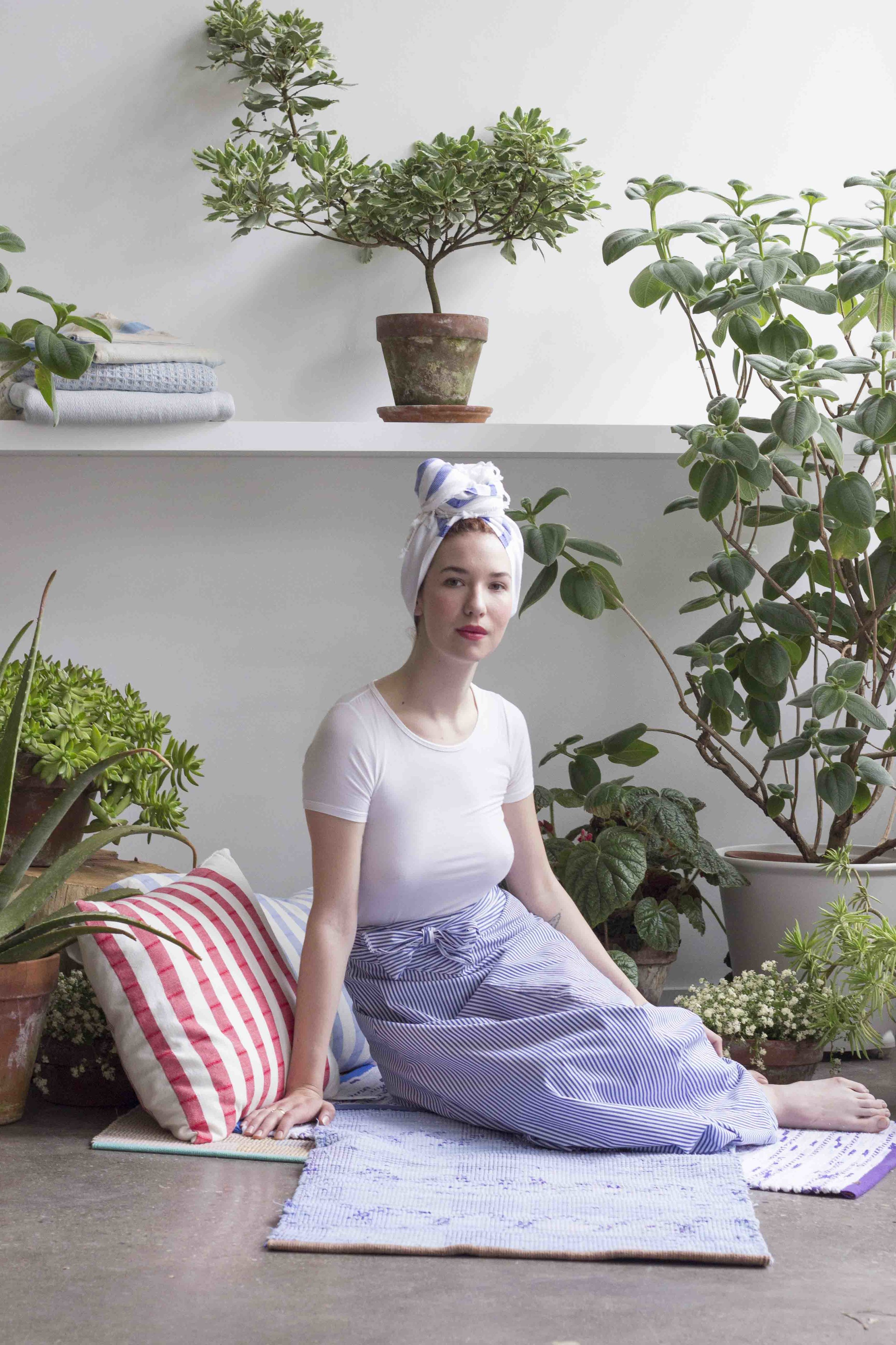Hair Towel - Hamilton Peskir, Rugs by Claudia Mills, Blue Stripped Skirt and white Top by Wayward Collection