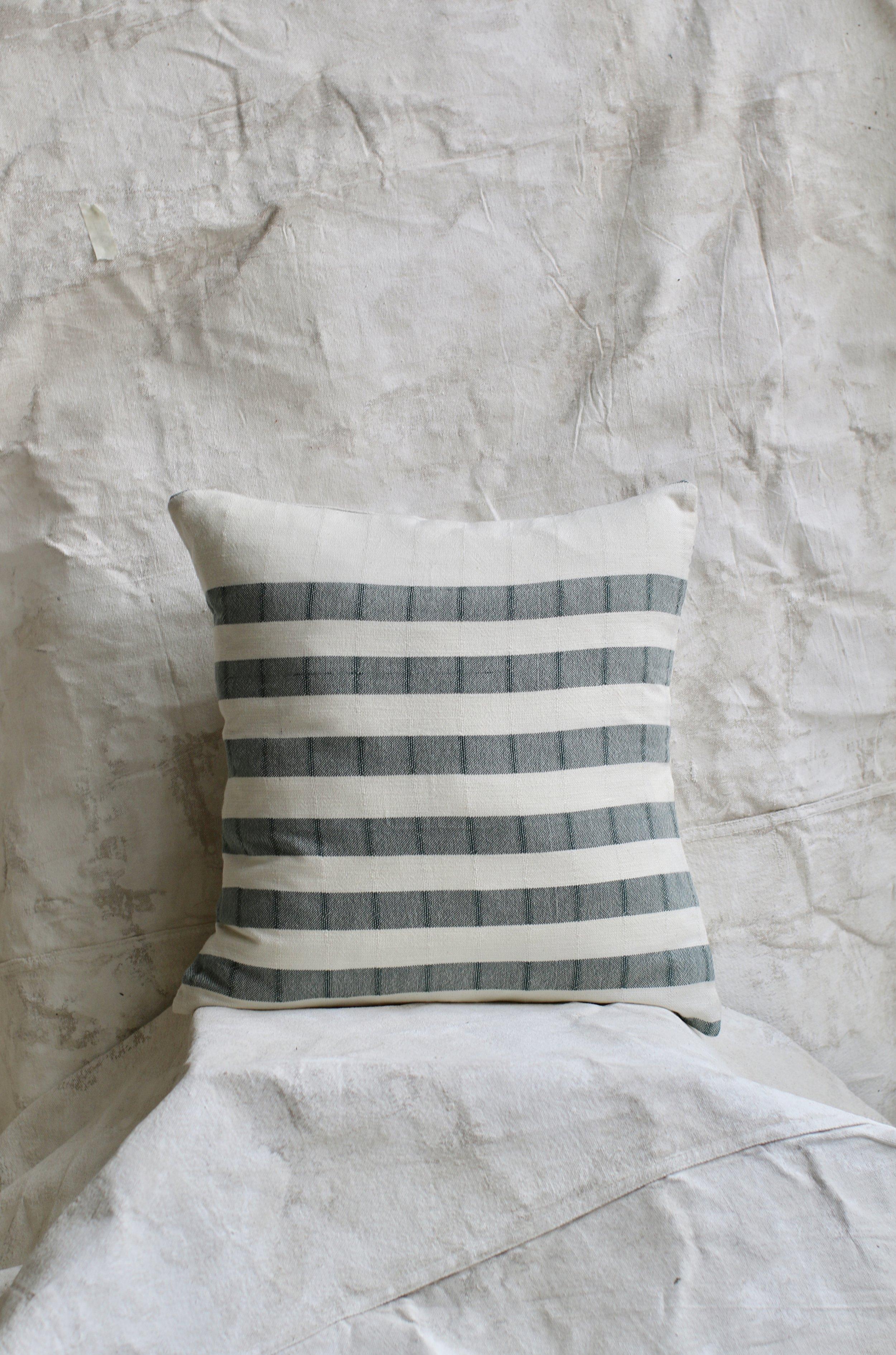 Cotton Stripped Pillow - Hunter Green $54-$34