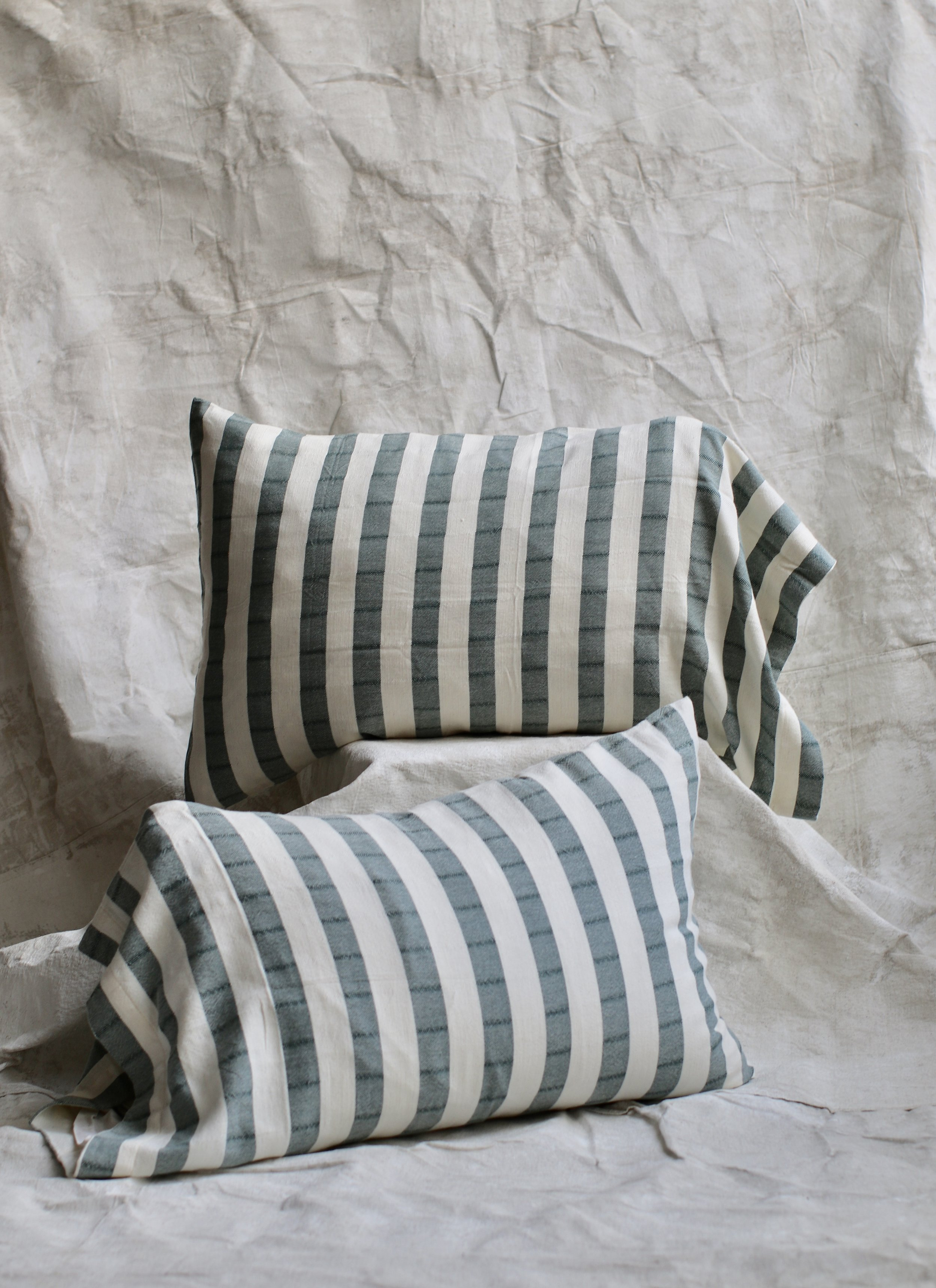 Cotton Stripped Standard Pillowcase set - Hunter Green $68