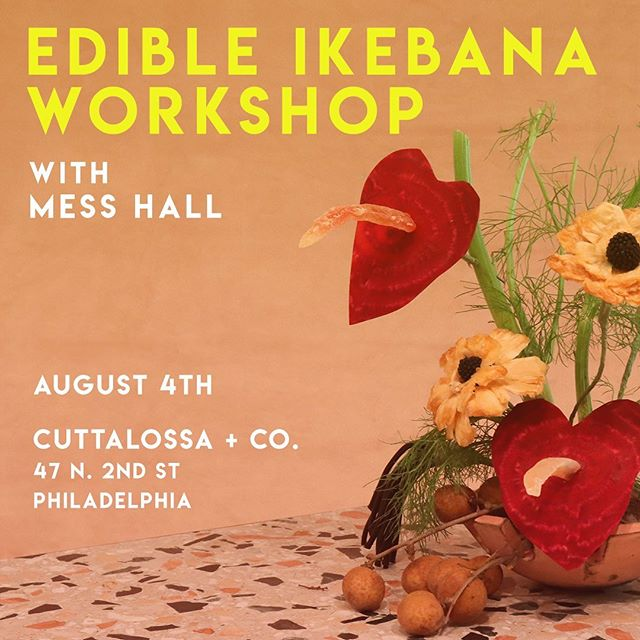 We are so excited to announce we will be hosting @messhall_journal 's Edible Ikebana Workshop!!! Go to Cuttalossa.us/events to get tickets!!🎉 Ikebana is having a moment, but the simplistic form of floral arrangement dates back to 7th century Japan. Once an offering at alters, the core of the art is to respect each flower or plant chosen for its inimitable quality, character and purpose. Mess Hall's edible ikebana follows the same philosophy. Every element of our arrangements are carefully chosen at local farmers markets and specialty food shops. Even down to the vessel it's displayed in, allowing the eater to enjoy their arrangement long after it's been devoured.  At this 2 hour workshop, attendees will learn the how-tos of sourcing, how to manipulate ingredients into different shapes and finally how to arrange their very own edible ikebana. Each attendee will be provided with tools, materials and a vintage vessel sourced by Tavatine. ——- Mess Hall is a food based creative studio. In addition to their namesake journal they collaborate with artists on food-based projects, provide styling services and curate a marketplace of vintage cookware.  Tate Obayashi is the editor of Mess Hall Journal. When not working on the journal, she creates custom sculptures for Bergdorf Goodman, Tiffany & Co. and ABC Carpet to name a few. Edible ikebana is a nod to her Japanese heritage as well as her creative and culinary endeavors.