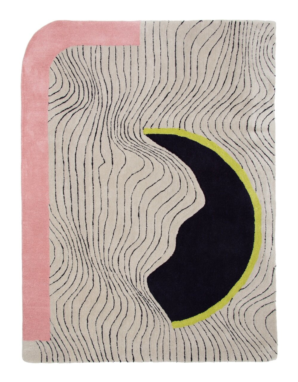 See you on the dark side of the moon.  Size available in-store: 6' x 4.5'  100% New Zealand Wool  Handmade in India.  $799