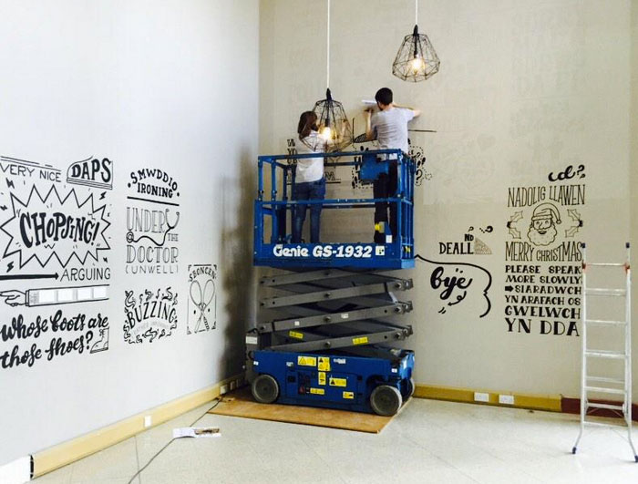 We painted the final mural directly onto the wall. It took us6 days to cover the full 95m2.