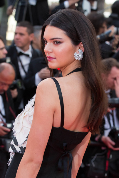 Kendall Jenner in marquise cut white diamond cluster earrings (38-carats) set in 18-carat white gold.