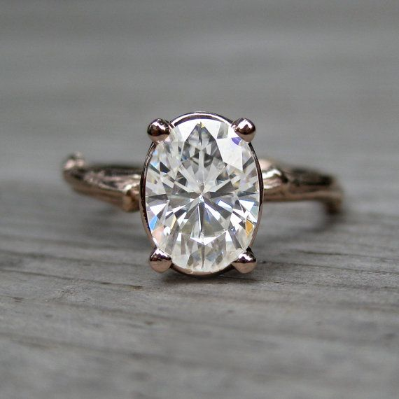 Oval Moissanite Twig Engagement Ring.