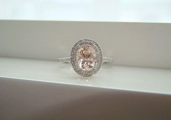 Oval Halo Peach Morganite Diamond Ring Gemstone Engagement Ring.