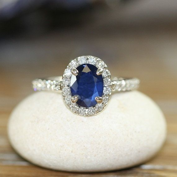 Natural Blue Sapphire Engagement Ring Halo Diamond Ring.