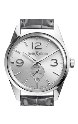 Bell and Ross Vintage BR Automatic Watch BR123 Officer Silver   CALL US: 312-944-3100